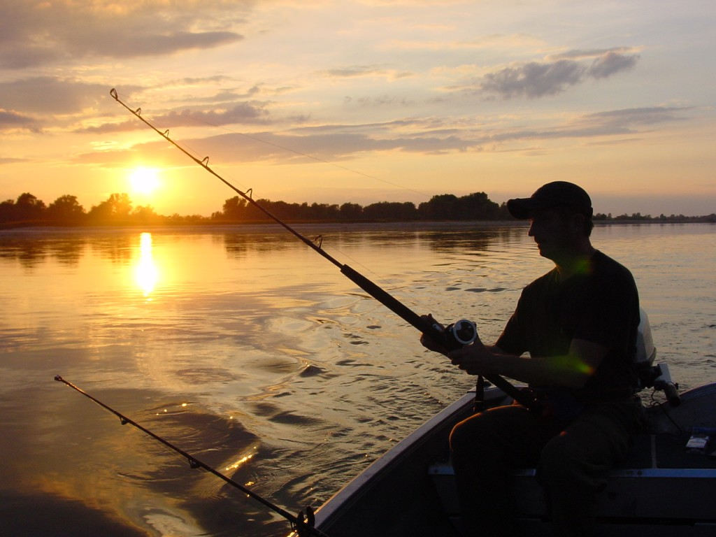 ultralight fishing and Trolling at Sunset